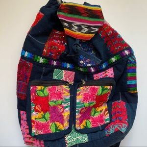 Embroidered Floral Backpack with Drawstring